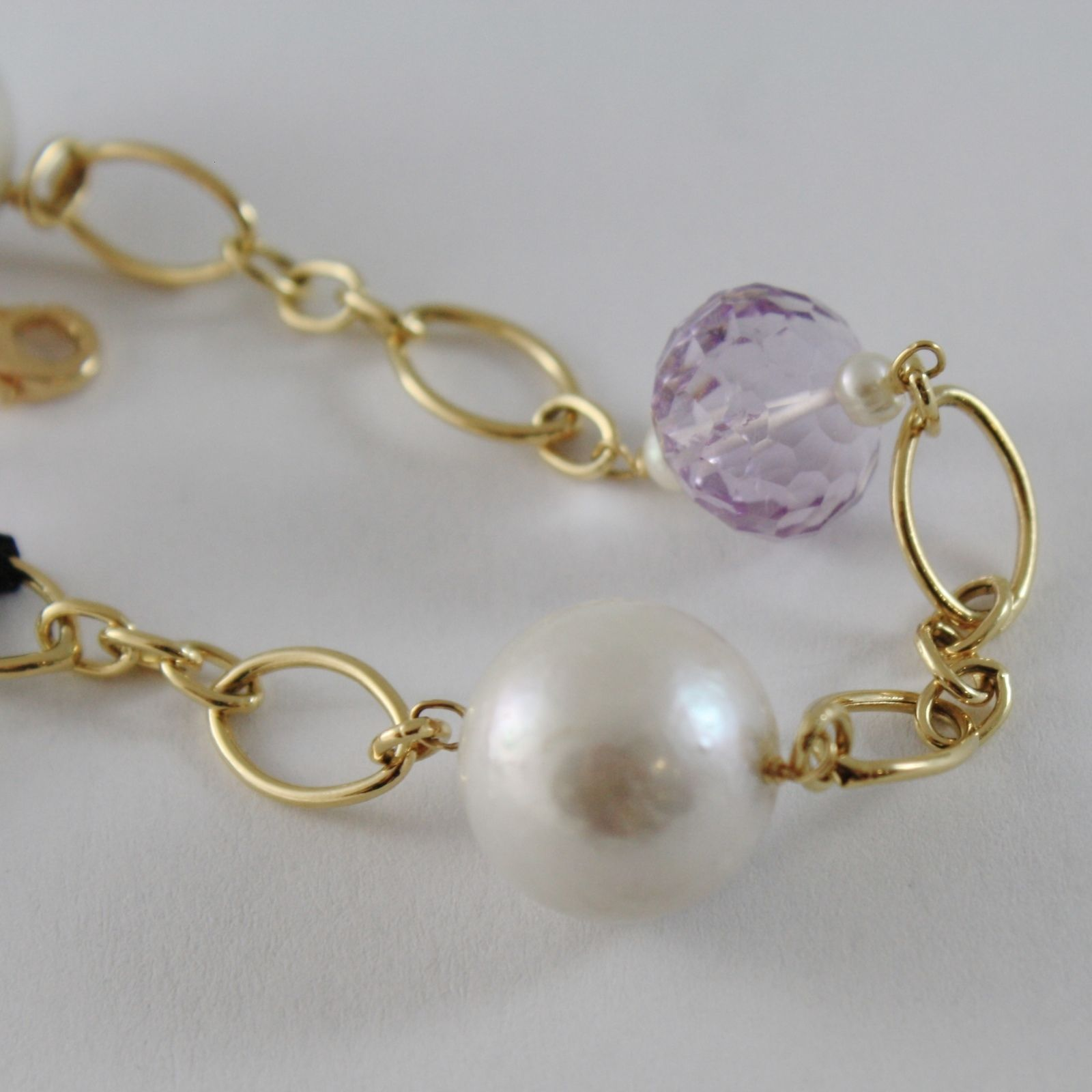 18K YELLOW GOLD BRACELET WITH BIG WHITE PEARLS & CUSHION AMETHYST MADE IN ITALY