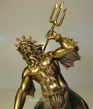 POSEIDON GOD OF SEA THROWING TRIDENT GREEK MYTHOLOGY Statue Bronze Finish - $60.75