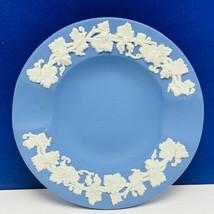 Wedgwood jasperware England vintage blue white mcm vtg plate teacup saucer grape - $16.35