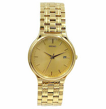 Seiko Gold Tone STeel Date Japan Quartz Mens Watch SJJ042 - $122.55