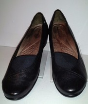 Hushpuppies Ladies Black Leather Loafer Comfort Shoes Size 8.5 - £20.01 GBP