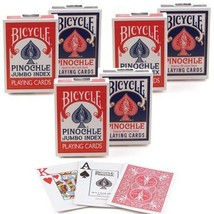 12 Decks Bicycle Rider Back Pinochle Jumbo Index Playing Cards 6 Red  6 Blue New - $34.95