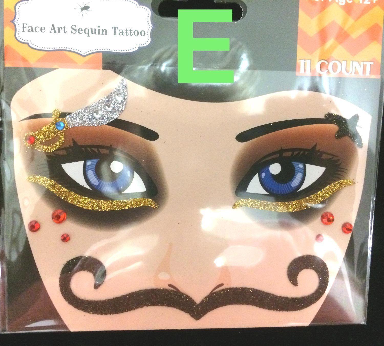 Gothic Punk Tattoo EYE DECALS Makeup Face Art Gems-PIRATE SKULL STACHE-Choose 1