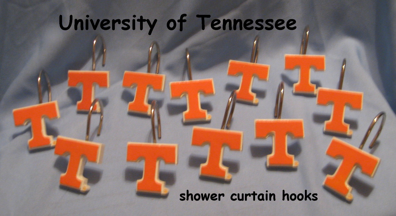 Tennessee Vols Shower Curtain Hooks Orange White T