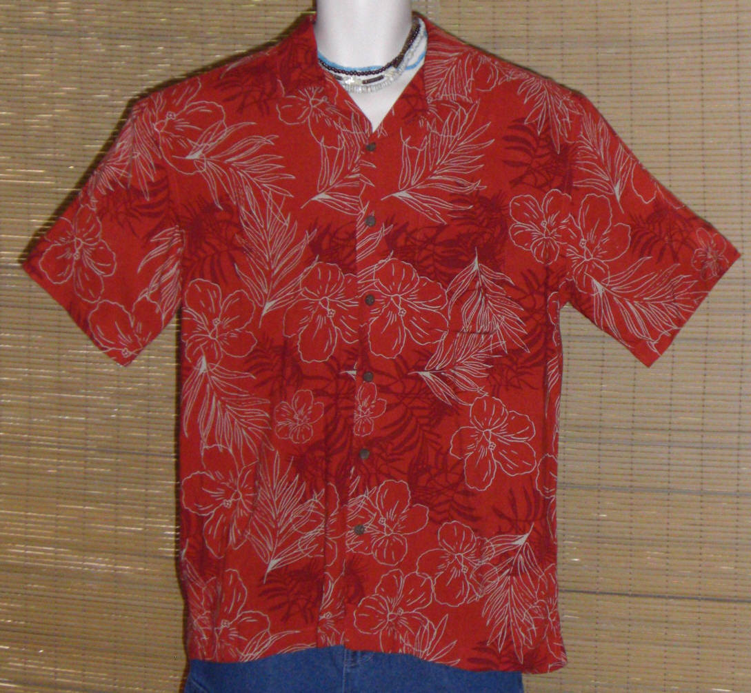 Primary image for Ocean Pacific Hawaiian Shirt Red Medium