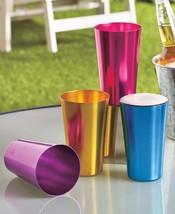 Pint Glass Tumbler 16 oz. Set Glasses Aluminum Retro Colorful Drinks Col... - $12.49
