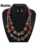MayJim New Vintage crystal Red Necklace jewelry sets Big Acrylic bead Bo... - $27.41