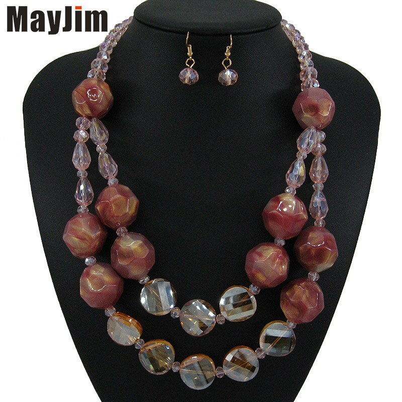Primary image for MayJim New Vintage crystal Red Necklace jewelry sets Big Acrylic bead Bohemia go
