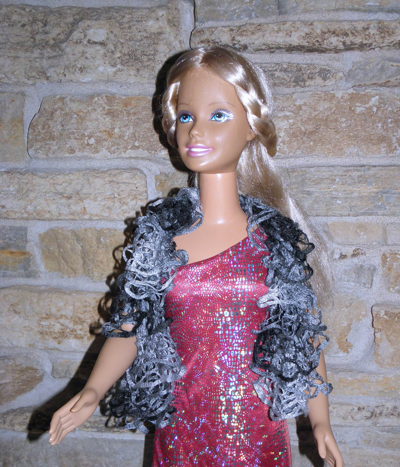 "Primary image for Hand Knit Grey and Black Ruffle Scarf for 36"" dolls such as My Size Barbie -"