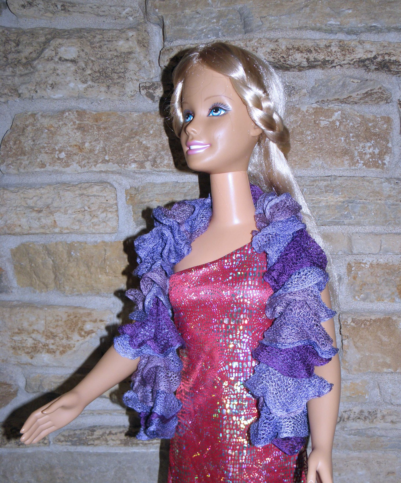 "Hand Knit Lavender Net Ruffle Scarf for 36"" dolls such as My Size Barbie -"