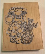 Gardening Lady Wood Mounted Rubber Stamp Fruit Apples Gardening Flowers ... - $9.99