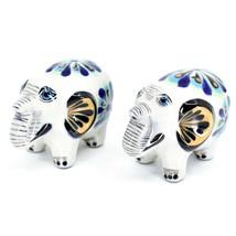 Ceramic Painted Elephant Salt & Pepper Shaker Set Shakers Handmade in Guatemala image 1