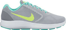 WOMEN'S NIKE REVOLUTION 3 RUNNING SHOES GRAY GREEN US 9.5 - $9.89
