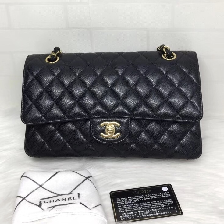 BRAND NEW AUTH Chanel Medium Black Caviar Classic Double Flap Bag GHW