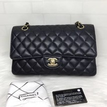 BRAND NEW AUTH Chanel Medium Black Caviar Classic Double Flap Bag GHW image 1