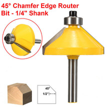 1/4 Inch Shank 45 Degree Chamfer Edge Forming Router Bit Woodworking Tool - $6.38