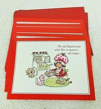 7 Vintage Strawberry Shortcake 1980 Christmas Cards w Envelopes  - $16.34