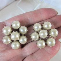VTG Tiered Construction White Faux Pearl Starburst Earrings Clip HighEnd... - $14.39