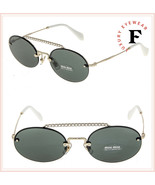 MIU MIU SOCIETE MU60TS CRYSTAL Gold Green Oval Rimless Special Sunglasse... - $247.50