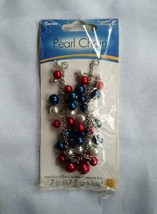 Darice Pearl Chain 7 inch Red White Blue New Patriotic Glass Beads Jewelry - $7.91