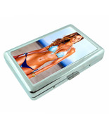 French Pin Up Girls D6 Silver Metal Cigarette Case RFID Protection Wallet - $13.95