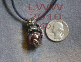Pewter Gargoyle Red Orb Amulet Necklace Pendant Wiccan - $5.90
