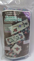 Charles Craft Floral Cross Stitch 3 Piece Women's Accessory Set - $14.85