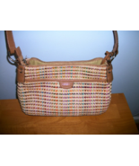Genuine Fossil purse bag w key multicolored woven - $17.77