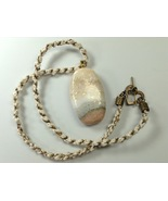 Necklace 24 nches Handmade Polymer Clay Pendant Kumihimo Rope Cream Beac... - $39.99