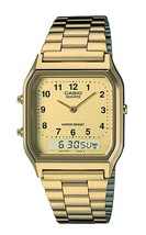 Casio AQ-230GA-9B Mens Watch Original Dual Time Mens Quartz Gold tone An... - $53.83 CAD