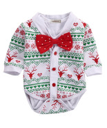 StylesILove Infant Baby Boy Jumpsuit with Red Bowtie and Holiday Charact... - $16.99