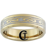 7mm Tungsten Carbide Beveled Gold Celtic Knot L... - $49.00