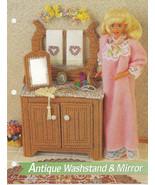 Antique Washstand & Mirror Annies Attic Fashion Doll Plastic Canvas Club... - $7.50
