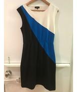 SPENSE Black Blue White Color Block Ponte-Knit  Dress Womens Size 6 - $17.95
