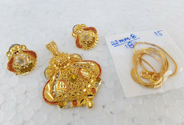 South Indian Fashion Jewelry Ethnic Gold Plated Big Pendant 22k Earrings... - $9.98