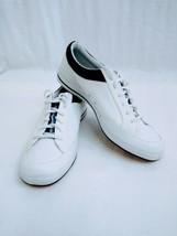 Keds Rebellion Womens White Leather Walking Shoes Size 10M Blue Trim BEA... - $27.71