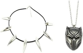 Black Panther Claw Necklace and Black Panther Mask Pendant Necklace 2Pc ... - $29.99