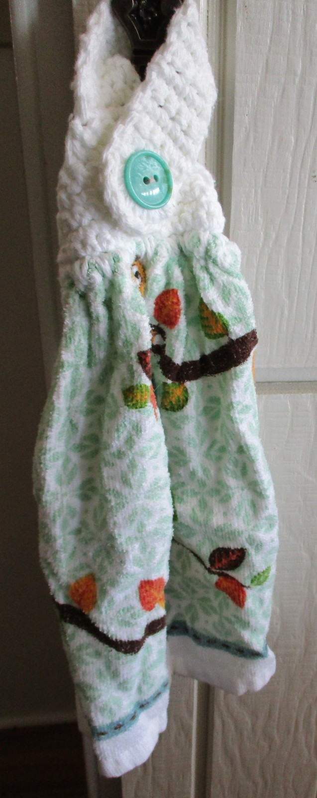Kitchen Towel with Crocheted Top - Owl