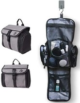 Hanging Toiletry Bag for Men Women, Travel Essentials Storage (Grey Black) - £15.93 GBP