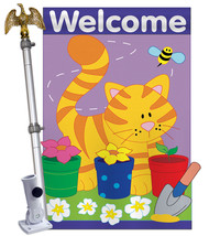 Garden Cat - Applique Decorative Aluminum Pole & Bracket House Flag Set HS110037 - $86.97