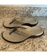 CROCS- Womens Canvas Rubber taupe Leopard Print- Slide Thong Flip Flop S... - $27.67