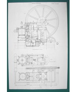 STEAM ENGINE Side View By Fairbairn of Manchester - c. 1835 Fine Quality... - $22.91