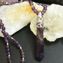 Necklace with Amethyst Pendulum, Fully Beaded with Amethyst Beads Boho Chic - $28.71