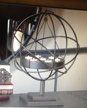 "22"" Iron 7 Tealight Candler Holder Globe Sphere Freestanding or Hanging image 2"