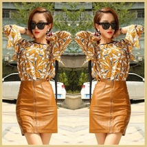 Clay Color Faux PU Leather Front Zip Up Petite Mini High Waist Pencil Skirt image 1