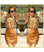 Clay Color Faux PU Leather Front Zip Up Petite Mini High Waist Pencil Skirt - $69.95
