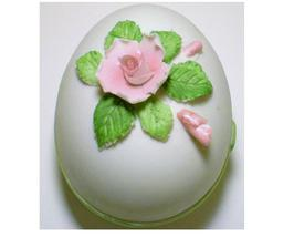 Lefton China hand painted porcelain rose Trinket box egg - $6.00