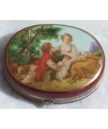 """Hand painted desser trinket porcelain box with tiny 1"""" Glass Doll - $29.99"""