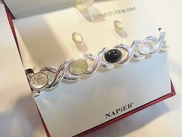 Vintage NAPIER Bracelet & Earrings SET ORIGINAL BOX Pierced Silver Plate... - €4,15 EUR