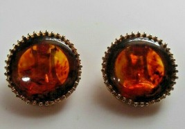 Vintage Gold-tone Amber Clip-on Earrings Pat. # 2733491 - $54.45